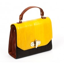 The Liberte Satchel- Black, Tan & Mustard