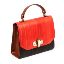The Liberte Satchel- Black, Tan & Red