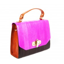 The Liberte Satchel- Hot Pink, Black & Tan